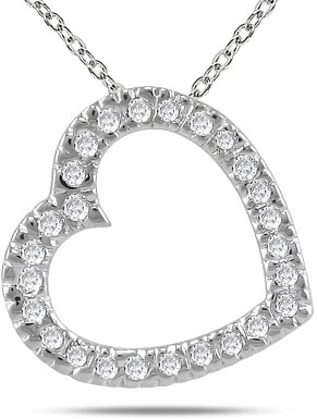 0.25 Carat All Diamond Slide Heart Necklace in 14K White Gold