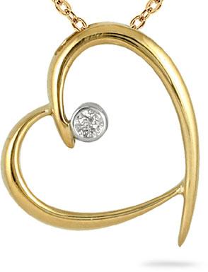 Diamond Solitaire Heart Pendant in 10K Yellow Gold