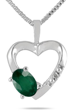 Emerald and Diamond Heart Pendant, 10K White Gold