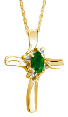 Emerald Cross Diamond Necklace in 10K Yellow Gold