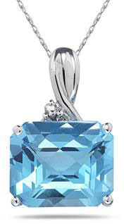 7.60 Carat Emerald-Cut Blue Topaz  & Diamond Pendant, 10K White Gold