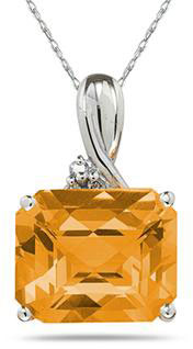 7.60 Carat Emerald-Shape Citrine & Diamond Pendant, 10K White Gold