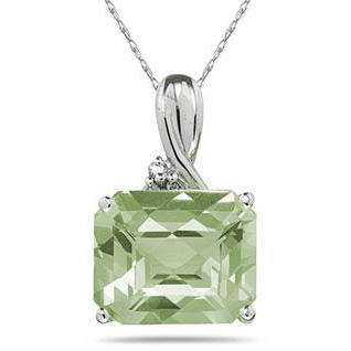 7.60 Carat Emerald-Shaped Green Amethyst & Diamond Pendant, 10K White Gold