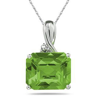 7.60 Carat Emerald-Shape Peridot & Diamond Pendant, 10K White Gold