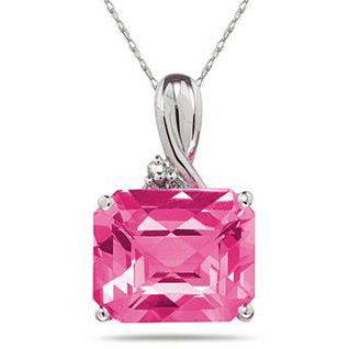 7.60 Carat Sideways Emerald-Shaped Pink Topaz & Diamond Pendant, 10K White Gold