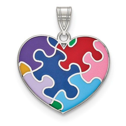 Enameled Autism Awareness Heart Pendant, Sterling Silver