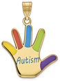14K Gold Enameled Autism Awareness Hand Pendant