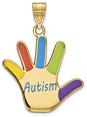 14K Gold Enameled Autism Awareness Hand Pendant