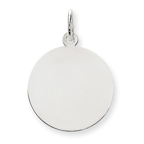 Engravable Disc Charm Pendant, 14K White Gold
