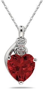 Garnet & Diamond Heart Pendant in 10K White Gold