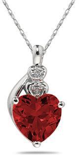 Garnet & Diamond Heart Pendant in 10K White Gold