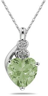 Heart Green Amethyst & Diamond Pendant In 10k White Gold
