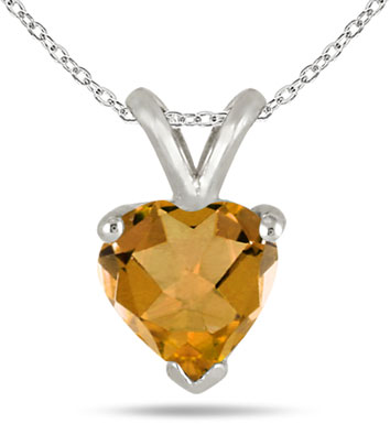 Heart-Cut Citrine Gemstone Necklace, 14k White Gold