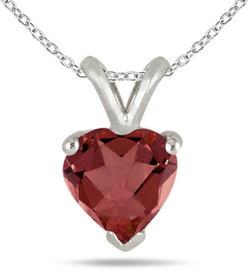 Heart-Cut Garnet Gemstone Necklace, 14k White Gold
