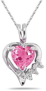 Heart-Cut Pink Topaz & Diamond Pendant in 10K White Gold