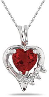 Heart Garnet & Diamond Pendant, 10K White Gold