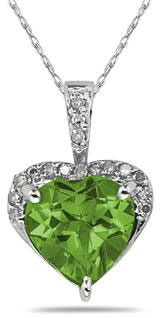 Heart-Shape 8mm Peridot & Diamond Necklace 10K White Gold