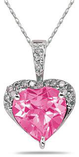 Heart-Shape 8mm Pink Topaz & Diamond Pendant 10K White Gold