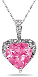 Heart-Shape 8mm Pink Topaz & Diamond Pendant 10K White Gold