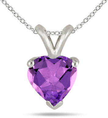 Heart-Shaped Amethyst Necklace Set in 14k White Gold