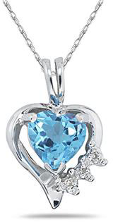 Heart Shape Blue Topaz & Diamond Pendant in 10K White Gold