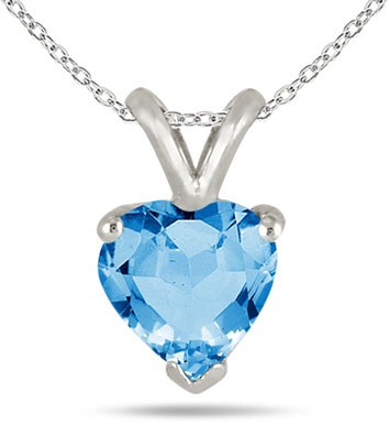 6mm Heart-Shaped Blue Topaz Necklace, 14k White Gold
