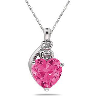 Heart-Shape Pink Topaz & Diamond Necklace in 10K White Gold