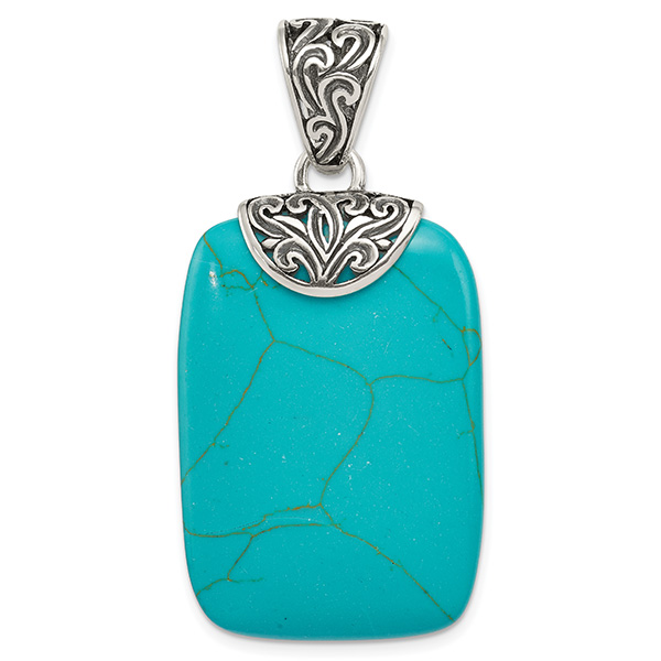 Large Antiqued Sterling Silver Turquoise Pendant with Paisley Bail