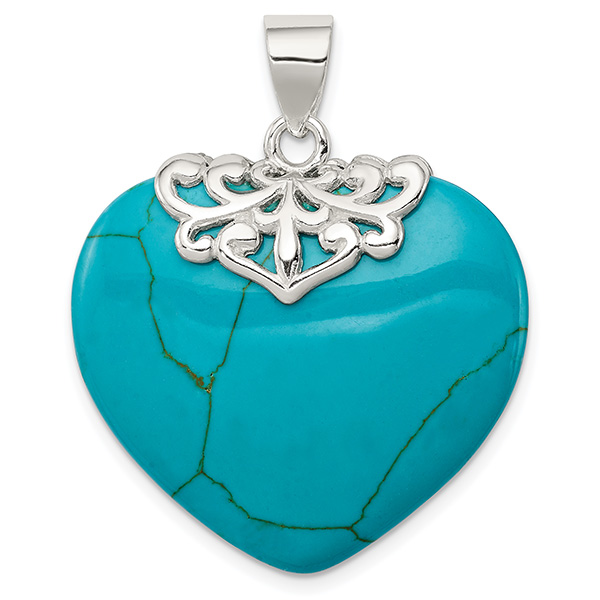 Large Heart Shaped Turquoise Pendant, Sterling Silver