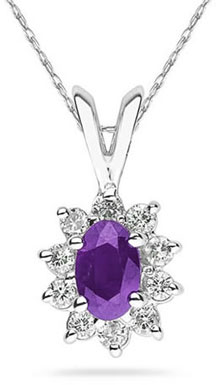 6mmX4mm Oval-Cut Amethyst and Diamond Flower Pendant 14K White Gold