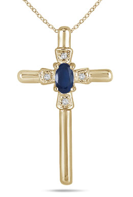 Oval-Cut Sapphire and Diamond Cross Pendant in 10K Yellow Gold