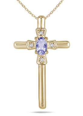 Oval-Cut Tanzanite and Diamond Cross Pendant in 10K Yellow Gold