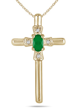 Oval-Shaped Emerald and Diamond Cross Necklace in 10K Yellow Gold