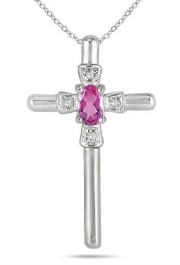 Oval-Shaped Pink Sapphire and Diamond Cross Pendant