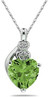 Peridot & Diamond Heart Pendant, 10K White Gold