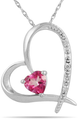 Pink Topaz Heart and Diamond Pendant in 14K White Gold