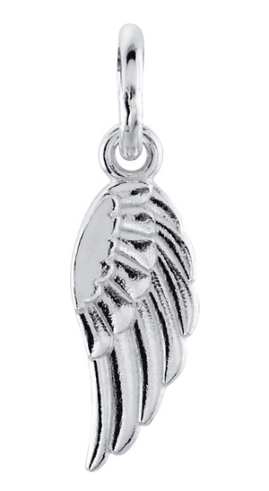 14K White Gold Posh Mommy Angel Wing Pendant