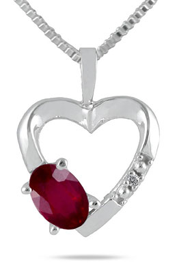 Ruby and Diamond Heart Necklace in 10K White Gold