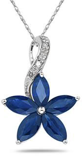 Sapphire and Diamond Flower Pendant in 10K White Gold