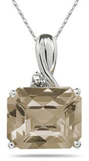 7.60 Carat Sideways Smoky-Quartz & Diamond Pendant, 10K White Gold