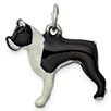 Sterling Silver Black and White Boston Terrier Dog Charm Pendant