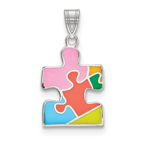 Enameled Autism Awareness Puzzle Pendant in Sterling Silver