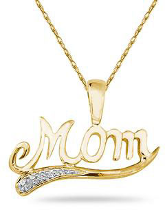 Yellow Gold and Diamond Mom Pendant