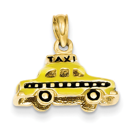 Yellow Taxi Cab Pendant in 14K Gold