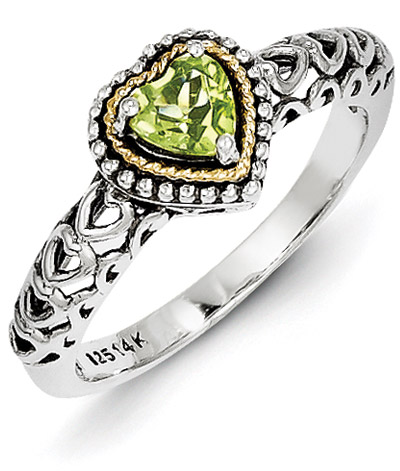 Peridot Heart Ring in Sterling Silver & 14K Yellow Gold