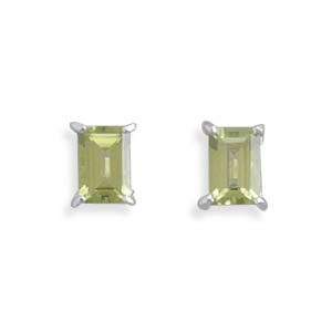 Emerald Cut Peridot Post Stud Earrings, Sterling Silver