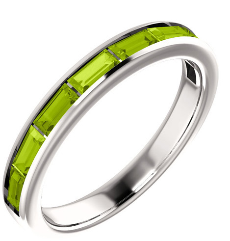 8-Stone Baguette Peridot Ring, 14K White Gold