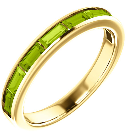 8-Stone Baguette Peridot Ring in 14K Yellow Gold