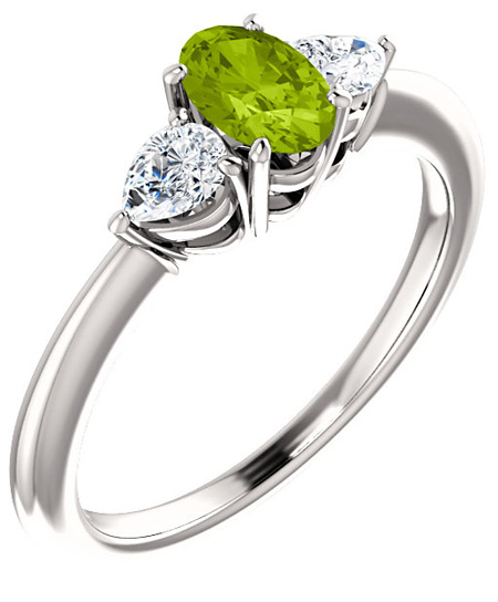 Green Peridot and Pear-Shaped Diamond Engagement Ring