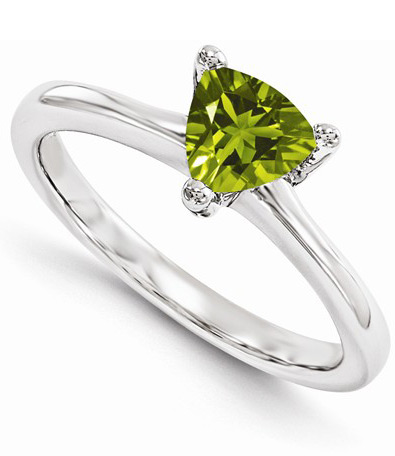 Trillion-Cut Peridot Solitaire Ring in 14K White Gold